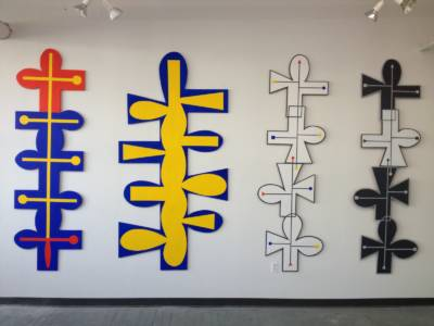 Bendheim Fred Totems, 2012-2015,96  High, Oil On Shaped Wood