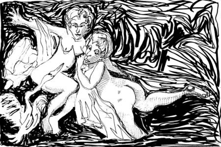 Boucher, Leda And The Swan, Ink, 2015. The Masters Revisited, Allen Forrest.