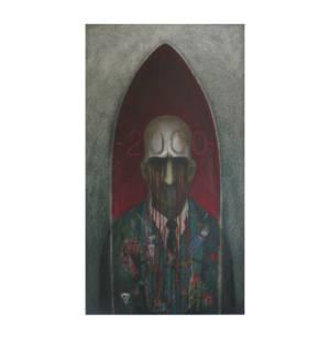 Voz De Hombre Apaciguado - Acrylic On Cardboard, 33 X 18 Inches